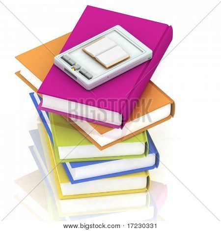 pocket pc and stacks of books on white background