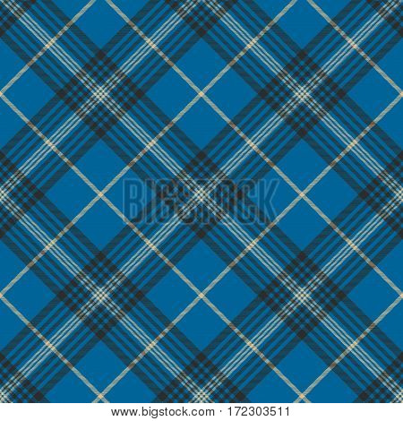 Fabric texture blue check plaid seanless pattern. Vector illustration.