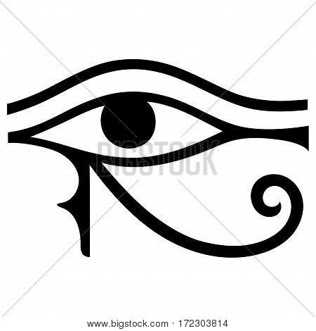 The ancient symbol Eye of Horus. Egyptian Moon sign - left Eye of Horus. Mighty Pharaohs amulet.