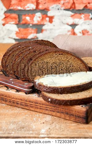 Freshly Baked Homemade Artisan Sourdough Rye And White Flour Bread. Sliced. Top View. Close Up. Copy