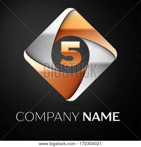 Number five vector logo symbol in the colorful rhombus on black background. Vector template for your design