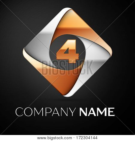 Number four vector logo symbol in the colorful rhombus on black background. Vector template for your design