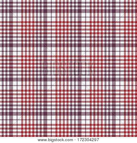 Seamless red check fabric texture tablecloth pattern. Vector illustration.