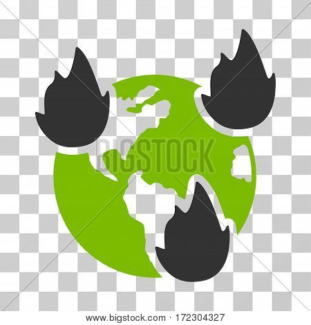 Earth Disasters vector pictogram. Illustration style is flat iconic bicolor eco green and gray symbol on a transparent background.