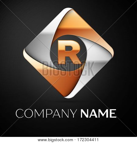 Letter R vector logo symbol in the colorful rhombus on black background. Vector template for your design