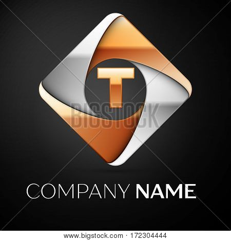 Letter T vector logo symbol in the colorful rhombus on black background. Vector template for your design