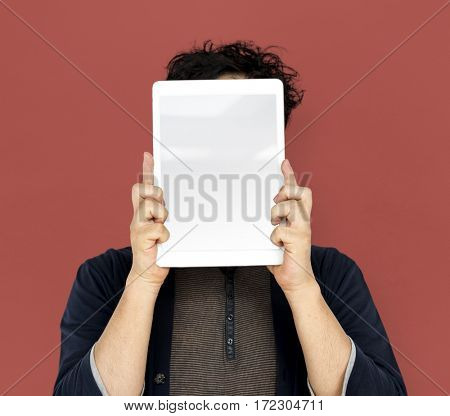 Asian Man Holding Tablet Advertisement