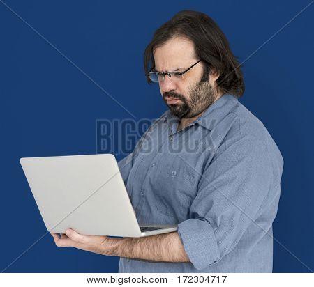 Man Laptop Internet Online Connection Technology