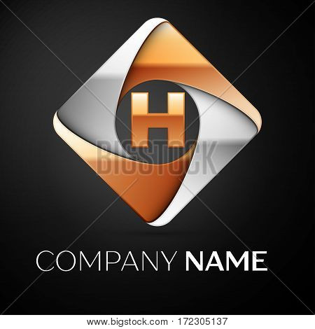 Letter H vector logo symbol in the colorful rhombus on black background. Vector template for your design