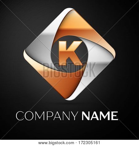 Letter K vector logo symbol in the colorful rhombus on black background. Vector template for your design