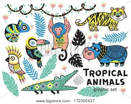 Collection of mountain animals with ethnic, tribal ornaments. Vector illustration. Cute characters for children is design