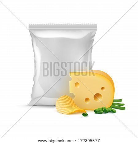 Vector Potato Ripple Crispy Chips with Cheese Onion and Vertical Sealed Empty Plastic Foil Bag for Package Design Close up Isolated on White Background