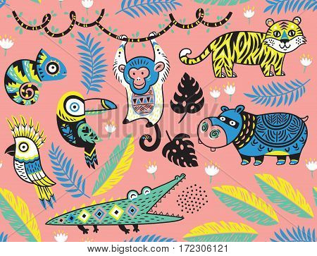 Tropical seamless background with crocodile, tiger, monkey and toucan, hippopotamus, chameleon in cartoon style. Vector pattern on a pink background