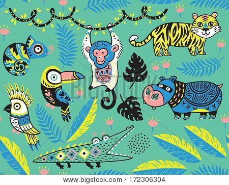 Tropical seamless background with crocodile, tiger, monkey and toucan, hippopotamus, chameleon in cartoon style. Vector pattern on a green background