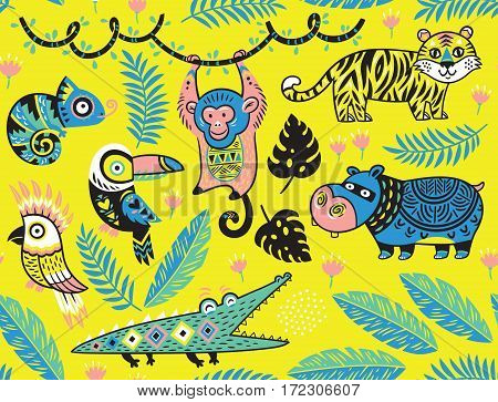 Tropical seamless background with crocodile, tiger, monkey and toucan, hippopotamus, chameleon in cartoon style. Vector pattern on yellow background