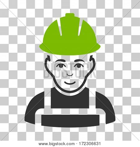 Glad Worker vector pictograph. Illustration style is flat iconic bicolor eco green and gray symbol on a transparent background.