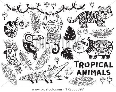 Collection of tropical animals in vector. Outline ornamental illustration in ethnic, tribal style for children coloring pages