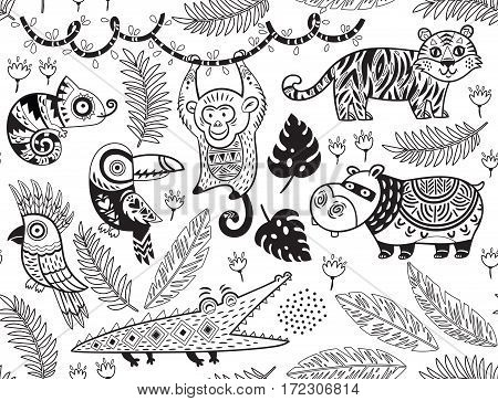 Outline seamless pattern of tropical animals with ethnic, tribal ornaments. Vector ornamental illustration in cartoon style for children coloring pages