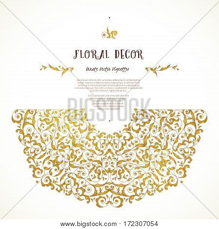 Vector set of ornate frame border vignette for design template. Elements in Eastern style. Golden floral ornaments. Luxury decor for invitations greeting cards thank you message.