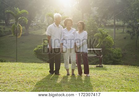 Group portrait of healthy and happy Asian seniors retiree walking at outdoor nature park, in morning beautiful sunlight at background.