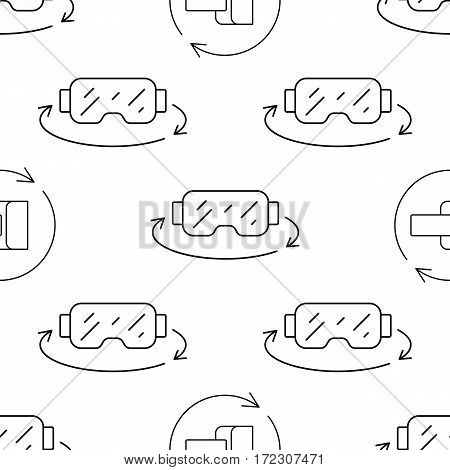 Vector seamless pattern in a linear style with elements of virtual reality equipment