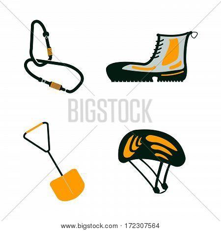 Carbine, Hiking Boots, Shovel, Helmet Flat Icons. Tourism Equipment. Trip Web Elements. Vector Illus