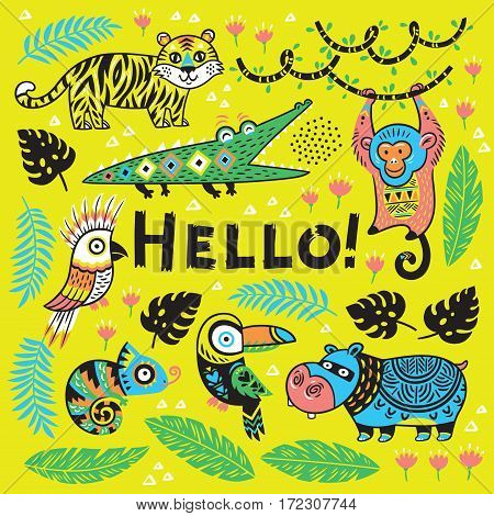 Hello. Vector tropical print with crocodile, tiger, monkey and toucan, hippopotamus, chameleon in cartoon style