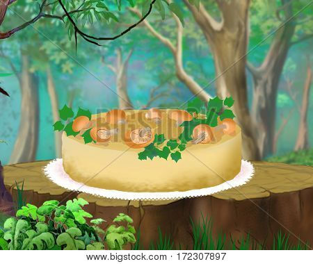 Mushroom Pie on a Stump in a Forest. Digital Painting Background Illustration in cartoon style character.
