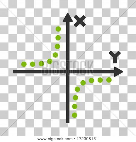 Hyperbola Plot vector pictograph. Illustration style is flat iconic bicolor eco green and gray symbol on a transparent background.