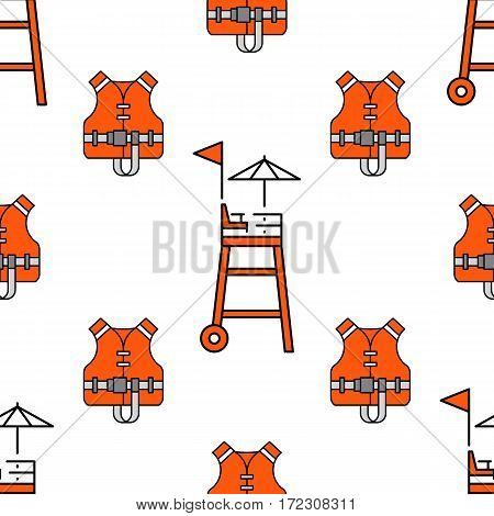Lifeguard flat outline seamless pattern with equipment and rescue equipment for the rescue of drowning. Water rescue pattern vector illustration