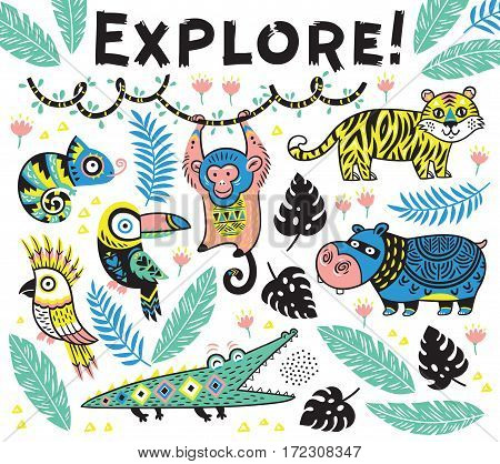 Explore. Vector tropical print with crocodile, tiger, monkey and toucan, hippopotamus, chameleon in cartoon style