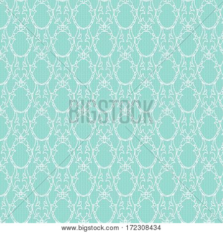 White decorative lace pattern on a turquoise background