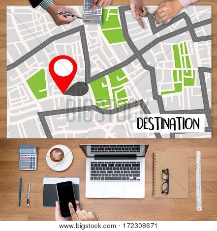 Route Way Route  City Map Destination Route Navigation  Gps  ,   Using  System , Female Hands Holdin