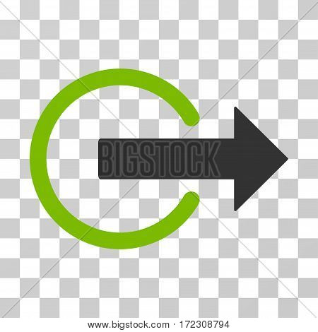 Logout vector pictogram. Illustration style is flat iconic bicolor eco green and gray symbol on a transparent background.