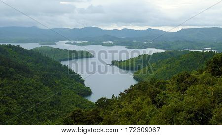 Ecosystem With Lake Green Forest On Mountain Chain