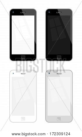 Vector Illustration Of Mobile Phones. Four variations No Transparency No Gradient Used