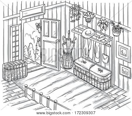 Entrance hallway interior with staircase, storage furniture, pictures, plants and open door . Vintage hand drawn vector illustration in sketch style