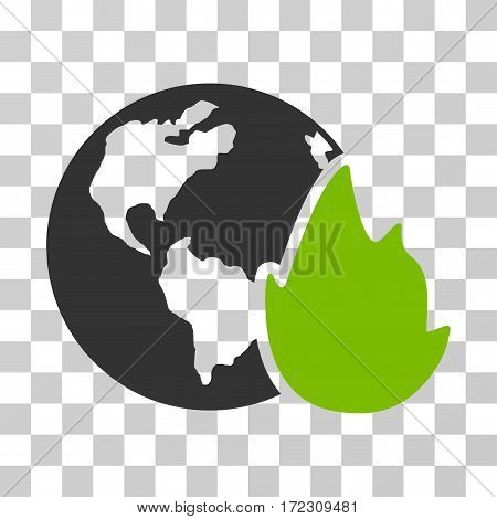 Planet Flame vector pictograph. Illustration style is flat iconic bicolor eco green and gray symbol on a transparent background.