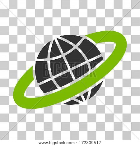 Planetary Ring vector pictograph. Illustration style is flat iconic bicolor eco green and gray symbol on a transparent background.