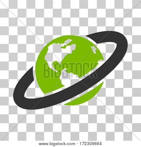 Ringed Planet vector icon. Illustration style is flat iconic bicolor eco green and gray symbol on a transparent background.