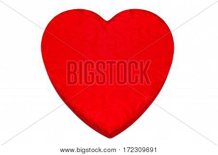 Red Valentine heart shaped box with a swirl pattern against a white background