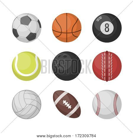 Sports balls vector set. Basketball and soccer, tennis and football, baseball, bowling, golf, volleyball balls. Collection of sport balls illustration