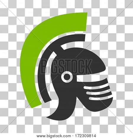 Rome Helmet vector pictogram. Illustration style is flat iconic bicolor eco green and gray symbol on a transparent background.