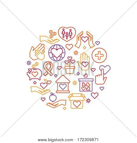 Charity, care, help vector concept, nonprofit and volunteer logo. Round badge for donation organization, illustration of hand giving donation