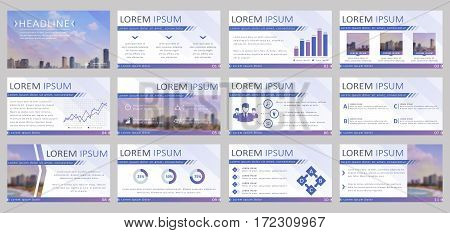 Set of 12 templates for business presentation. Vector backgrounds with infographic elements and blurred city landscapes.