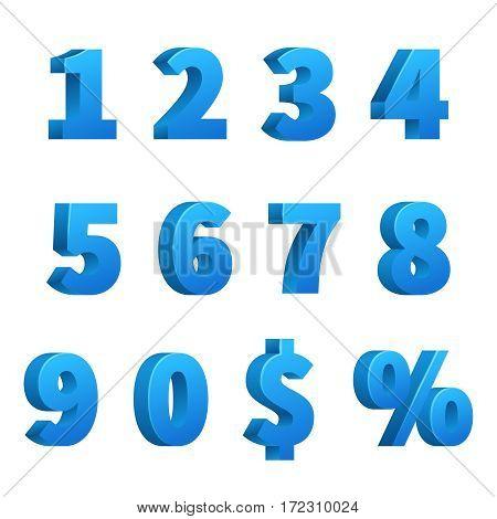 Blue 3d school numbers vector set. Typeface mathematics numbers, illustration of school numbers sign