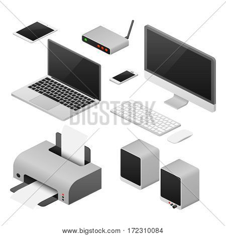 Isometric 3D digital vector computers and supplies of office workspace. Workplace with laptop, speaker and printer, illustration of digital device for work