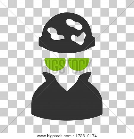 Spotted Spy vector pictograph. Illustration style is flat iconic bicolor eco green and gray symbol on a transparent background.