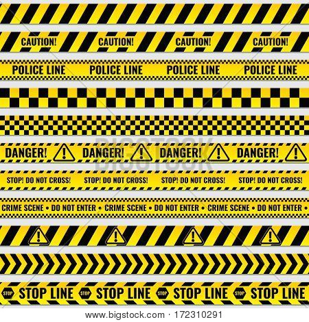 Black and yellow police stripe border, construction, danger caution seamless tapes vector set. Police line for for fencing crime scene, illustration of police barriers