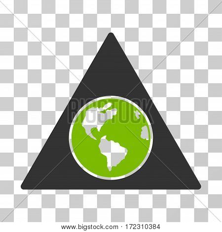Terra Triangle vector pictogram. Illustration style is flat iconic bicolor eco green and gray symbol on a transparent background.